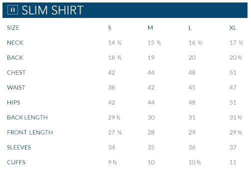 Camisas sport linen slim fit shirt for Slim fit shirt size chart